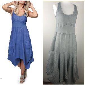 INIZIO Magic Two Pocket Sleeveless Linen Dress